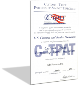 Certificate C-TPAT: Customs-Trade Partnership Against Terrorism
